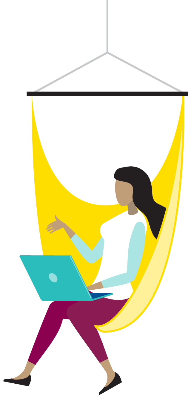 woman in hammock chair talking on a video conference
